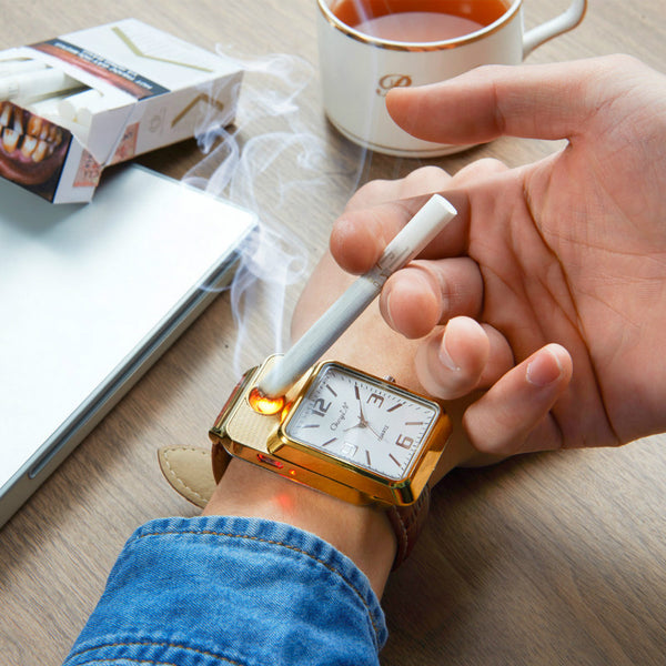 2-In-1 Wrist Watch & Cigarette Lighter USB Rechargeable Safe-Flameless-Windproof shown in gold color
