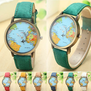 FREEBIE - Quartz Watch Global Map with Cruising Airplane Denim Wristband