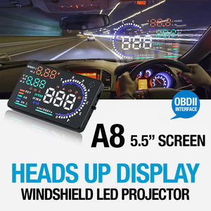 "A8 5.5"" LED Head-Up Display Projector OBD2 Shows Speed Warning, Fuel Consumption, Water Temp, Engine Data Diagnostic, RPM, Mileage"