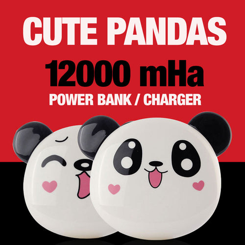 Cute Panda 12000mAh Portable Power Bank/Charger For Smart Phones & Devices With 2 USB Ports