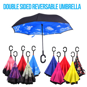 Windproof Reversible Foldable Double Layer Self Stand Umbrella