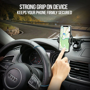 Strong Hold Unshakable Car Phone Holder For iPhones & Android Devices With Windshield / Air Vent Mount