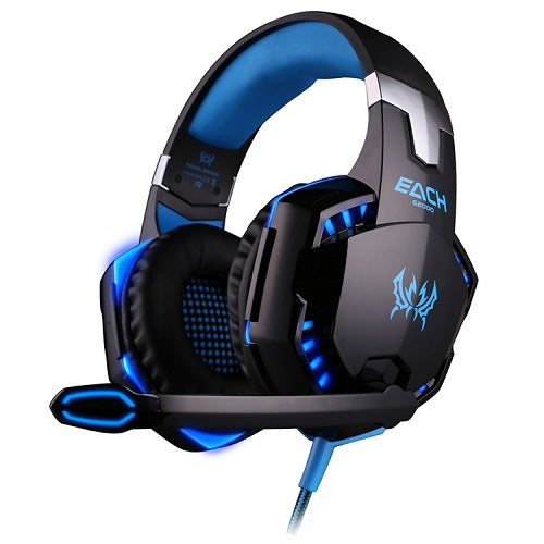 KOTION G2000 Deep Bass Gaming Stereo Headphones 50mm Driver ANC Built-in Mic Voice Control/Volume Control shown in black and blue trim