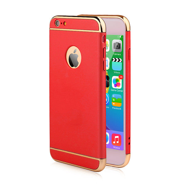 Luxury Ultra Thin Shockproof Armor Back Cover Case For iPhone 6 / 6s / Plus shown in red color