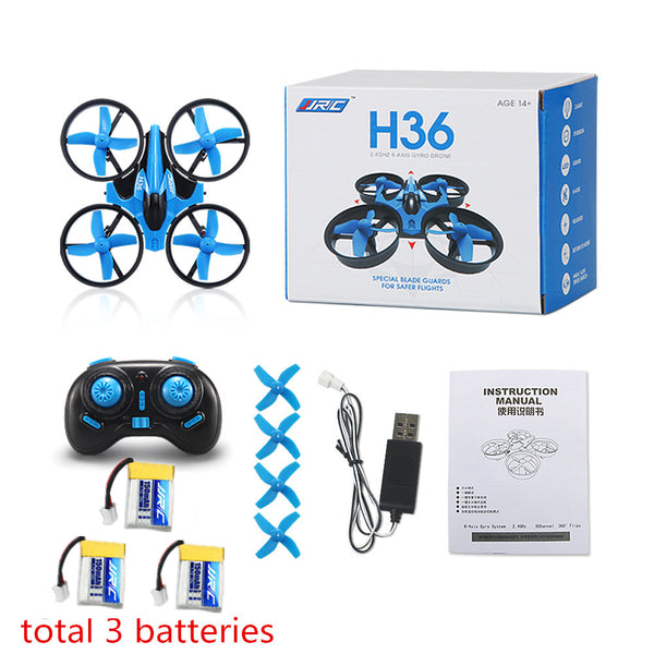 JJRC H36 2.4G Mini Quadcopter 6- Axis Gyro Headless Mode One Key Return RC shown in powder blue color