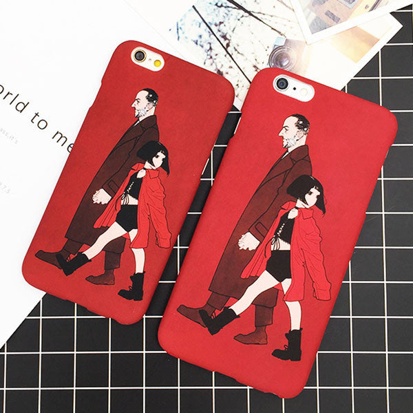Hard PC Matte Frosted Texture Back Cover / Leon & Mathilda Cartoons For iPhone shown in red color