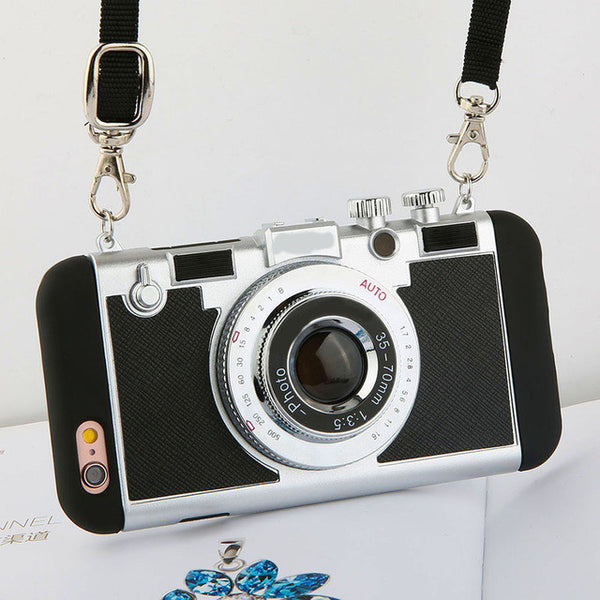 Unique Photo Camera Cases For iPhone Models 5/ 6/ 7 shown in black color