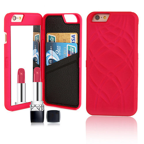 Multifunctional Leather Wallet + Flip Vanity Mirror + Kickstand Case For iPhone 5 / 6 / Plus shown in lite red color
