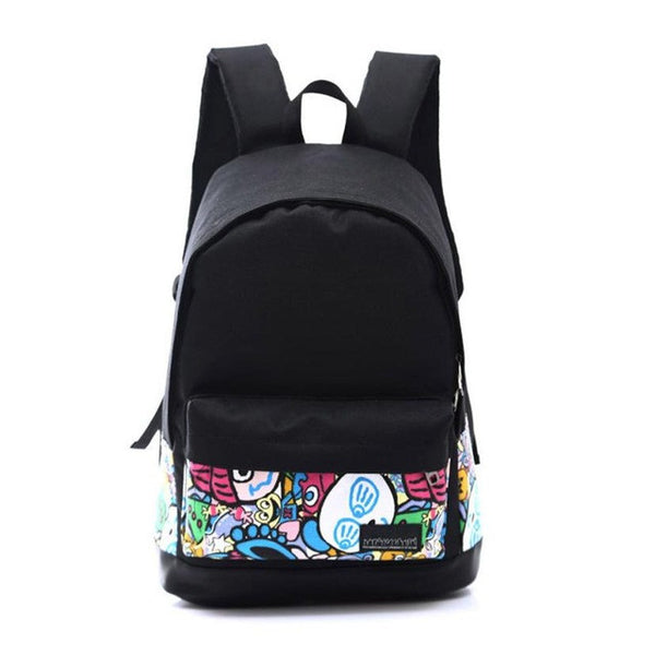 School backpack for everyday use by Xiniu Made of durable canvas material and polyester in black color with multi color patterns