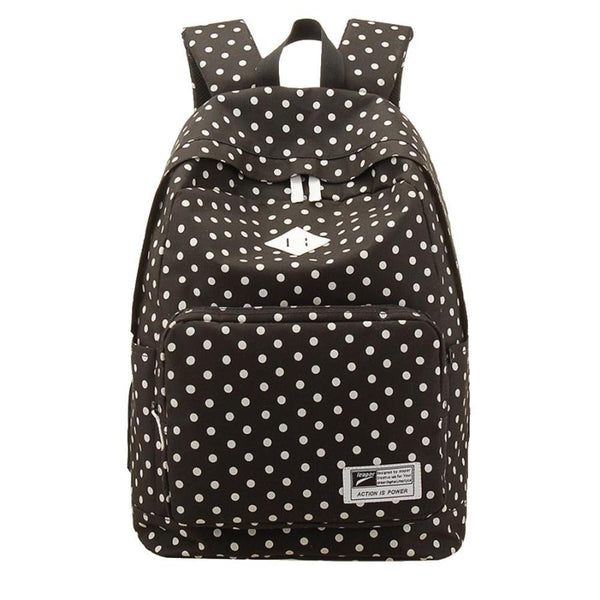 Casual lite weight polka dots Backpack in black color