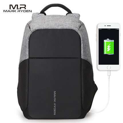 Multifunction Anti-theft Water-proof USB charger Port Backpack By Mark Ryden shown in gray and black