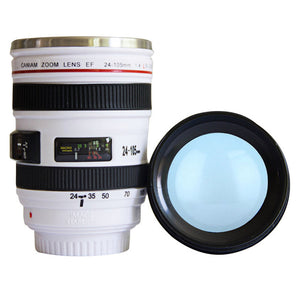Stainless Steel 400ml Camera Lens Coffee Mug With Lid