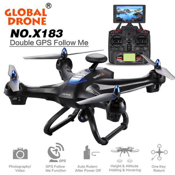 X183 6-axes gyro 4CH 2MP/5GHz/5.8GHz WiFi FPV HD Camera Double GPS Brushless Quadcopter black color