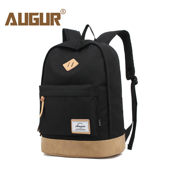 AUGUR Fashionable Unisex School Backpack shown in black