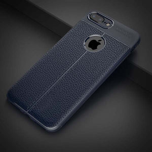 Shockproof Armor iPhone Case Flexible PU / TPU Leather Texture Durable Silicone