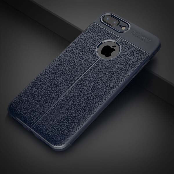 Shockproof Armor iPhone Case Flexible PU / TPU Leather Texture Durable Silicone navy