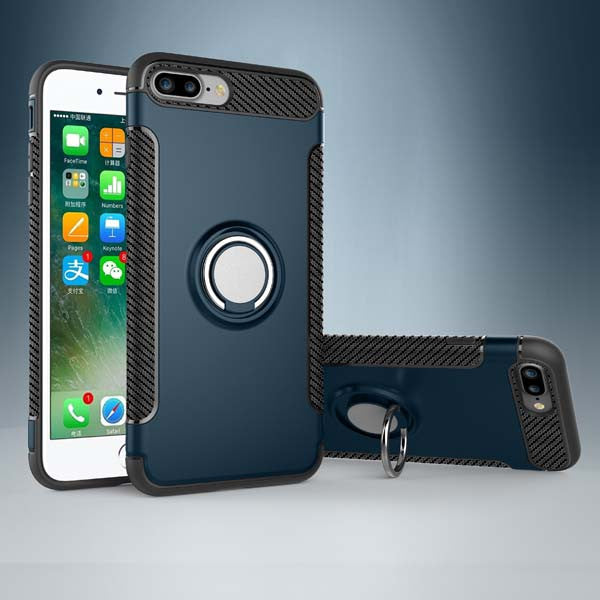 3 in 1 Magnetic Stand / Ring Holder / Kickstand iPhone Shockproof Case dark blue