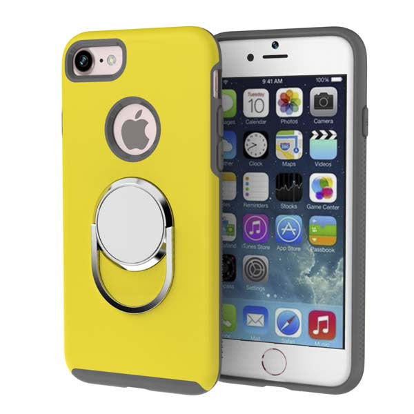 3 in 1 Metal Kickstand / Finger Ring Holder / Car Magnetic Holder Shockproof iPhone Case shown in yellow color