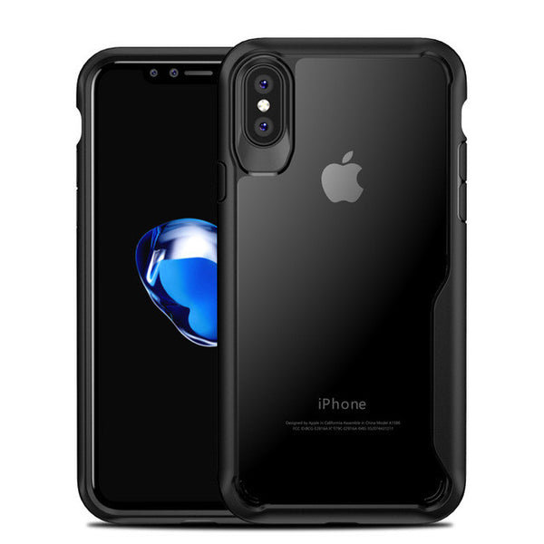 iPhone X Ultra-thin Transparent Soft TPU & PC Silicone Armor Phone Case shown in black color