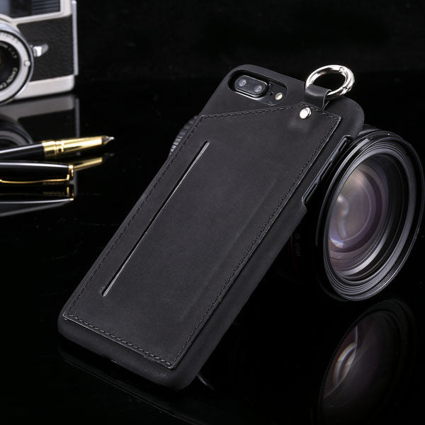 Leather Wallet + Card Holder Slot + Metal Ring Case For iPhone shown in black color