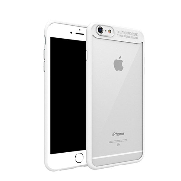 Ultra-thin Hard Acrylic / Clear TPU Anti-Shock Protective Back Cover For iPhone 6 / 7 Models shown in white color