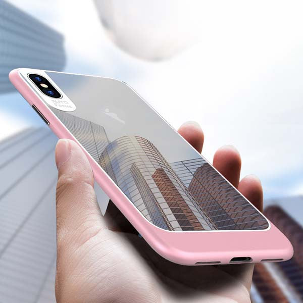 Ultra-thin Transparent iPhone X Case TPU / PC Silicone Shockproof Armor pink