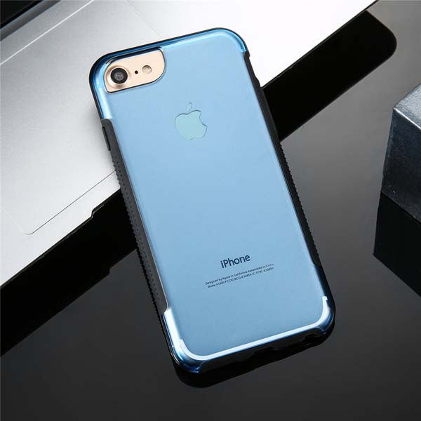 Slim Transparent TPU Silicone Case For iPhone 6 / 7 Models shown in lite blue color