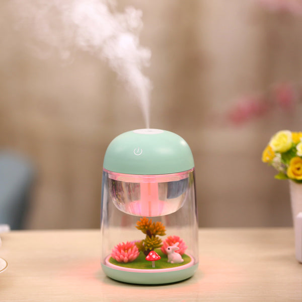 Ultrasonic USB 180ml 3 in 1 Humidifier - Mist Maker - Air Purifier LED Night Light powder blue color