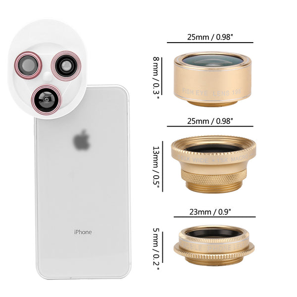Cell Phone Clip-on Camera Lens 4 in 1 Kit  Macro - Fish Eyes - Wide-Angle - Polarizer gold color lens rings