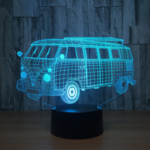 3D LED Night Glow Vintage VW Bus 7 Color Changeable Touch Control Lamp