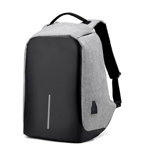 Anti-theft Backpack With USB Charger Port in color grey