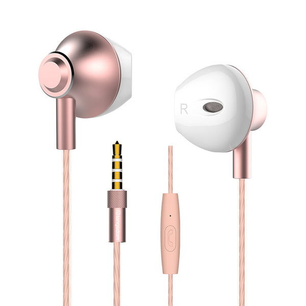 Langsdom F9 Wired Stereo Earbuds Metal Built-in Microphone and remote Control shown in rose color