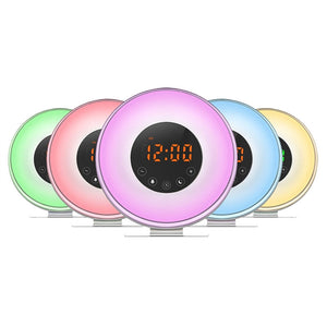 LED Alarm Clock Sunrise Simulation USB Charger + FM Radio