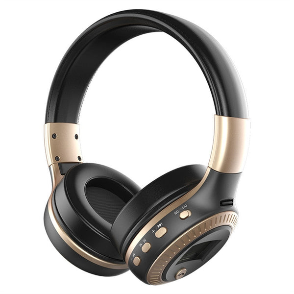 Wireless Stereo Bluetooth 3.0 adjustable headphones with  Built-in Mic - TF card Slot - LED Display Screen shown in black and gold colors