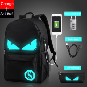 Water-Resistant Anti-Theft School Backpack USB Charging Port Luminous Logo