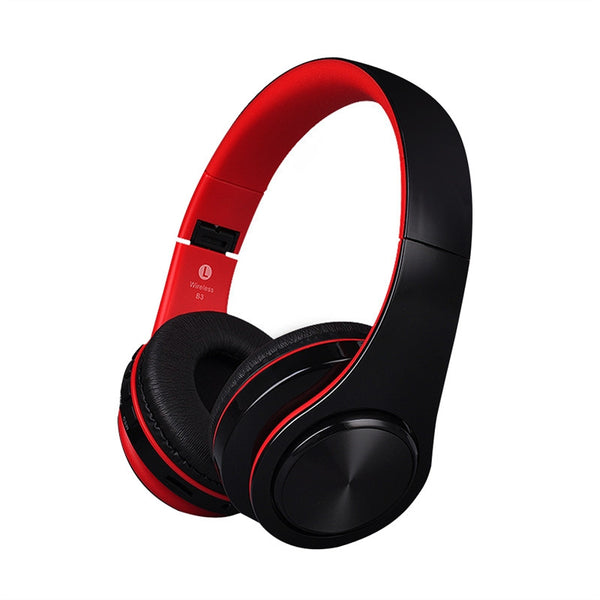B3 Stereo Wireless Bluetooth 4.1 Foldable Headphone Integrated Mic - TF Card Slot shown in powder red and black color