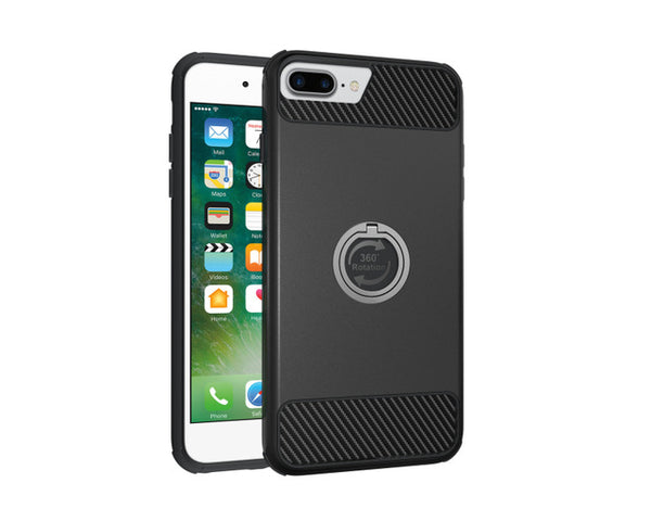 TANZ Soft Carbon Fibre + Hard PC Hybrid  Cover For iphone 8 8plus 7 7plus  6S plus Luxury Armor 360 Stand Cases Shell Coque Capa