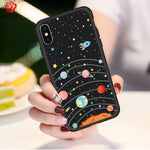 iPhone X Cute Original Drawings Silicone Case Ultra Thin 3D Relief Shock Absorbing Impact Resistant Dirt Resistant