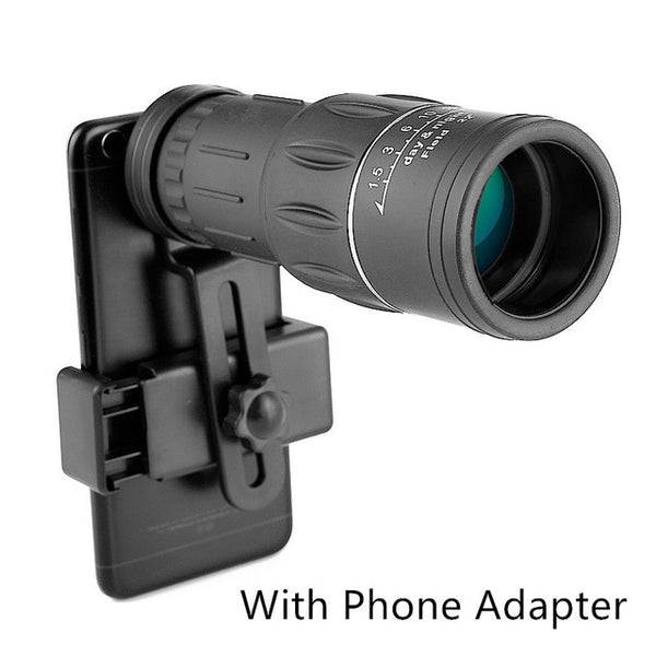 Monocular Optical Telescope Dual Focus 16X52 66M/8000M with phone adapter