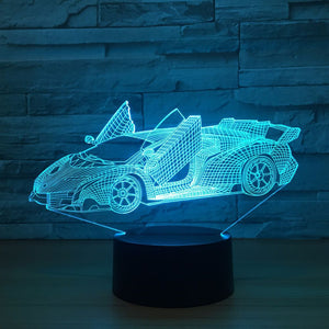3D LED Night Glow Super RAD Lamborghini Aventador 7 Color Changeable Touch Control Lamp