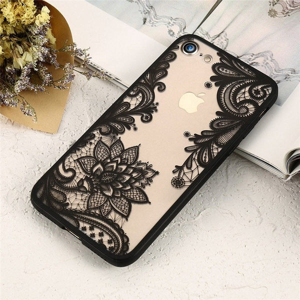 Sexy 3D Lace Flower Patterned Case For iPhone X 8 8Plus 7 7Plus 6 6s 6Plus 5 5s 5SE shown in black color