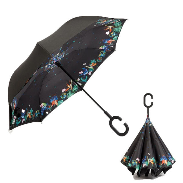 Double Layer Inverted Inverted Umbrella Is Light And Sturdy Draw Character Design Pattern Reverse Umbrella And Windproof Umbrella Edge Night Reflecti