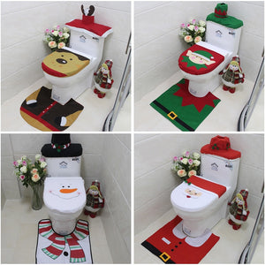 Cute Christmas Bathroom Decorations  Seat Cover - Floor Rug - Tank Cover