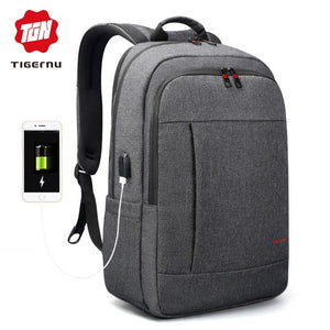 Unisex Large Capacity Backpack Anti Theft USB Charging Port Water Resistant Material Multi Compartment