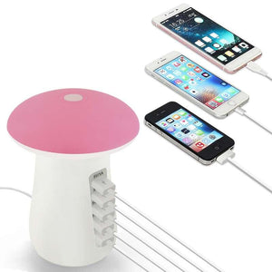 5 In 1 Multi Port Mushroom USB QC3.0 Charger Hub With LED Light