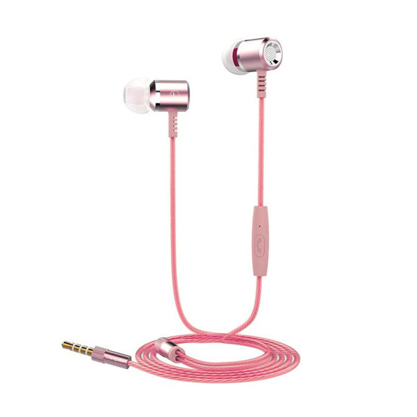 Langsdom M400 Metal 10.65mm Super Bass Hifi Stereo Headphones With Built-in Mic shown in rose gold color