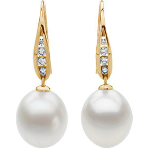 18K Palladium White South Sea Cultured Pearl & 1/3 Diamond Carats Earrings