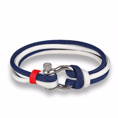 Ocean Life Nautical Rope Bracelet - Color: Double Blue White