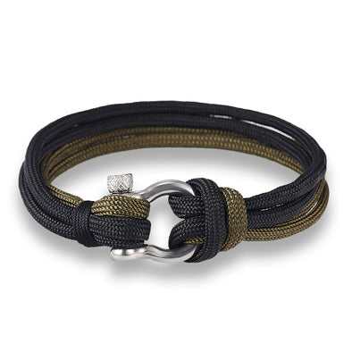 Ocean Life Nautical Rope Bracelet - Color: Double Black