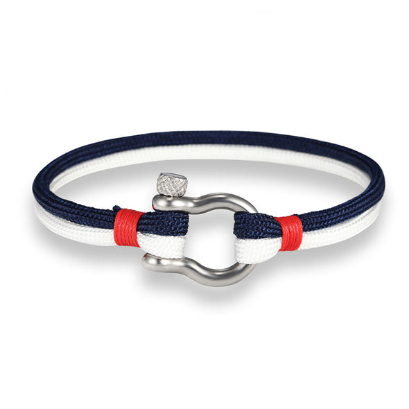 Ocean Life Nautical Rope Bracelet - Color: White Blue